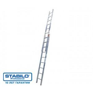 Двухсекционная раздвижная лестница 2х18 с перекладинами KRAUSE STABILO 123176