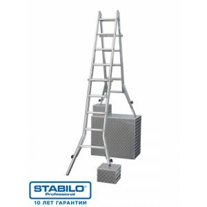 Шарнирная телескопическая лестница 4х4 с перекладинами и 4 удлинителями боковин KRAUSE STABILO 133977