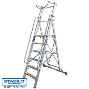 Лестница-стремянка, оборудованная большой площадкой и поручнем 14 ступ. KRAUSE STABILO 127587