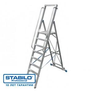 Лестница-стремянка, оборудованная большой площадкой и поручнем 8 ступ. KRAUSE STABILO 127785